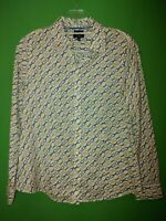 1799) TALBOTS 6 Petite button down fitted cotton blouse equestrian green gold 6P