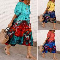 UK Womens Short Sleeve Party Beach Dresses Printed Loose Midi Dress Shirt Dress