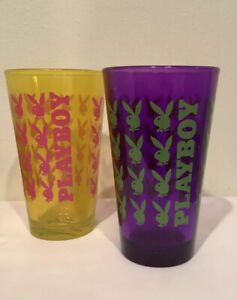 Vintage PLAYBOY Purple And Yellow Pint Glasses  Bunny Bunnies Excellent 1980's