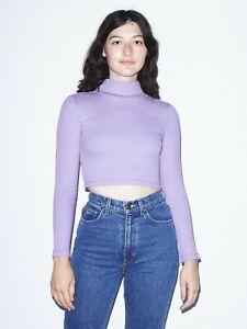 American Apparel Women's Lavender Ribbed Turtleneck Crop Top Sizes: L, XL