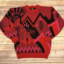 Ugly Christmas Sweater VTG 80s Women's S M Red Pink Black Rainbow Ridge