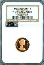 1981 CANADA CENT NGC MAC PR67 RD UHCam ULTRA HEAVY CAM SPOTLESS   *