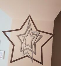 SHABBY CHIC CHRISTMAS DECORATION LARGE STAR HANGING DECOR RUSTIC 3D 36CM