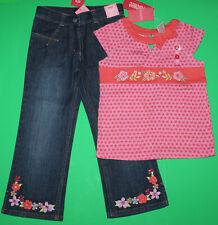 5 Nwt Gymboree Tea Garden 2pc Set Asian Denim Jeans Pants Orange Shirt Top Girls