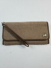 The Sak Woven Knit Fabric Womens Wallet Brown Fold Over Credit Card Slots