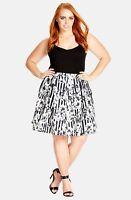 City Chic NWT women's Black White Gray Floral Striped Skirt $59 plus Siz XL 1026