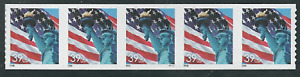 Scott# 3970...(39) Cent...Flag + Statue of Liberty...Plate # Strip of 5 Stamps