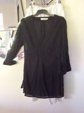 SEAFOLLY Black Tunic Top Beachwear Swimwear Overtop Dress 10 3/4 Sleeve Cotton
