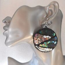 Big Sequin Clip-on Earrings:  Silver/Black Transvestite Drag Queen