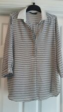EXCELLENT CONDITION DOROTHY PERKINS BLACK AND WHITE STRIPE TOP SIZE 8