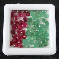 8 Ct/73 Pcs Natural Madagascar Red Ruby Colombian Emerald Round Cut Gemstone Lot