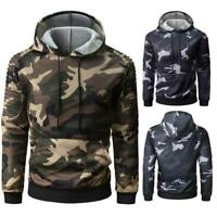 Chic Camouflage Men Long Ruffled Raglan Sleeve Autumn Winter Casual Hoodies