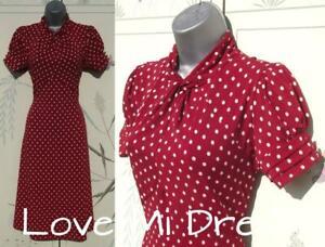 NEXT WW2 40's Style Polka Dot Tea/Dolly Dress Sz 18 EU46