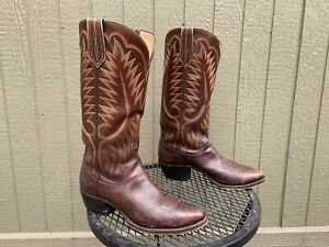PAUL BOND Cowboy Boots 10 C Mens Brown Leather Tall Western Boots W/Box