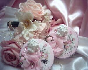 Shabby Victorian Cottage~2 PC Metal Tin Set~CHERUB~Rose Design~Gemstones~OOAK