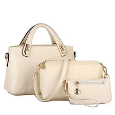 3PC Women Zip Leather Handbag Shoulder Bags Tote Purse Ladies Messenger Hobo Bag