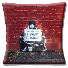 Banksy Art Keep Your Coins I Want Change Cushion Cover 16 inch 40cm Graffiti