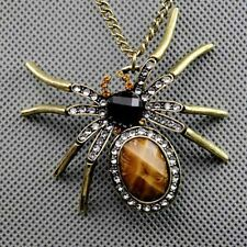 Bronze Retro Sweater Chain Spider Pendant Necklace Crystal Beads