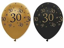 "30TH BIRTHDAY PARTY BLACK GOLD 12"" AGE 30 HELIUM LATEX BALLOONS DECORATION X 6"
