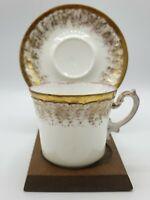 Antique AK Klingenberg Limoges Demitasse Teacup & Saucer Gold with Pink France
