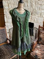 Olive Army Green Tunic Lace Crochet Tiered Ruffle  Blouse Top Excellent New