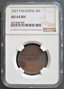 1927  Palestine 2 Mils, NGC MS 64 BN  ,  nice coin       # 530 , 21-3