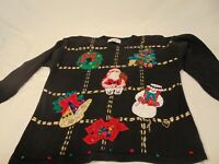 Victoria Harbour Women's Vintage Holiday Christmas Sequins Sweater Size XL Ugly