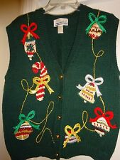 CAPE ISLE KNITTERS UGLY CHRISTMAS Sweater VEST Large Embroidered by Hand L@@K