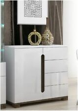 Berlin White Gloss Oak Compact Sideboard Storage Cabinet Lounge Dining Furniture