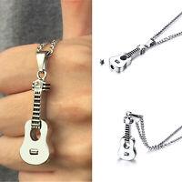 Silver Keepsake Urn Cremation Ash Holder Guitar Locket Pendant Jewelry Necklace