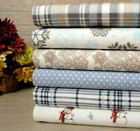 Bibb Home 100% Cotton Printed Flannel Sheet Set - Cozy, Soft, Deep Pocket Sheets