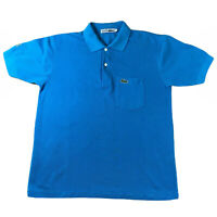 Vintage Lacoste Chemise Mens Blue Polo Shirt Sleeve Embroidered Logo RARE Size M