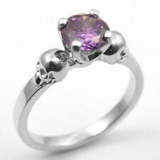 Skull Ring 9ct Gold 1ct Amethyst Diamond-Unique Hand Crafted  Engagement Ring