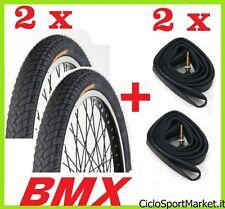 2 Neumáticos + 2 Cámaras de aire bicicleta BMX Medir 20 x 1.95 / SLICK NERO
