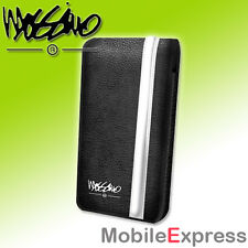 GENUINE Mossimo Leather Flip Case in Black / White for iPhone 5S, 5 & SE