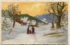 1925 Auguri Buon Natale Paesaggio Neve Famiglia Casalbuttano Cremona FP COL VG