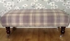 A Quality Long Footstool In Laura Ashley Williams Check Grape Fabric
