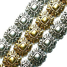 METAL SLIDER BEAD 2 HOLE SILVER COLOR SWIRL DOUBLE STRAND 50 BEADS 10X10MM SB7