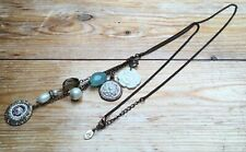 Lovely Long Dainty Bead Charm Necklace/Glass/Pearl/Accessorize/Eclectic/Boho