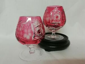 Vintage Pair of Bohemia Cut Glass Crystal Brandy Balloons Cranberry Pink