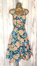 Beautiful Lindy Bop Halter Floral Dress Size 14 50's Swing