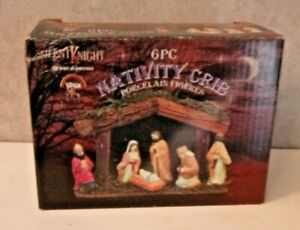 Small Christmas Nativity Set Wooden Stable & Ceramic Figurines Vintage Boxed