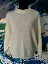 "Vintage ""Sweet Pea"" Ribbed Jumper Cream Chunky Knit Knitted Button - L/14/16/18"