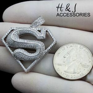 MEN 925 STERLING SILVER ICY DIAMOND 3D SILVER SUPERMAN CHARM PENDANT*ASP263