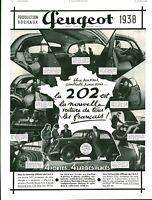 Publicité ancienne voiture Peugeot 202 1938 issue magazine