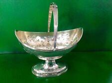 Bateman Georgian Swing Handle Antique English Sterling Silver Sugar Basket