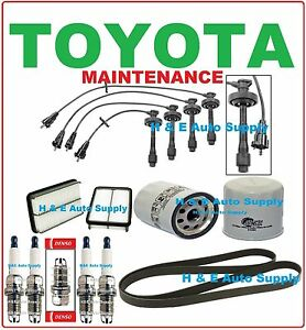 98-99 COROLLA TUNE UP KITS: SPARK PLUGS, WIRE SET, BELT; AIR & OIL FILTER