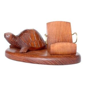 Universal Wooden Hand Carved Stand Case Display * Turtle * IPhone PDA cellphone