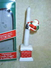 Christmas Candle Hugger & Holder Set Santa Ceramic Nib