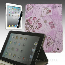 iPad 4 4G 4Gen 3 3rd 2 Leather Stand Case Evelope Flower Letter Pattern Purple